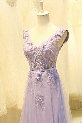 Elegant V-Neck Cute Lavender Prom Dresses with Flowers Tulle Pink Evening Dresses with Pearl Beadings_8