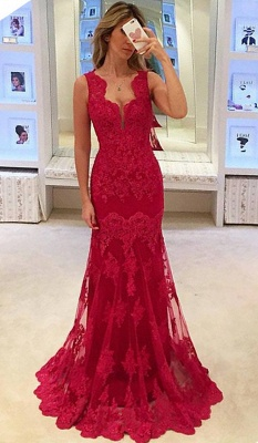 Popular Long Sleeveless Mermaid Prom Gowns  Elegant Sexy Red Lace Evening Dresses BA3745_4