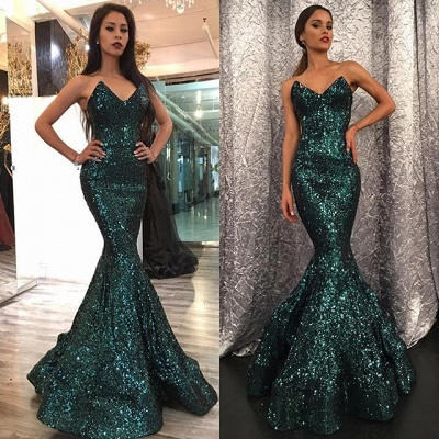 Dark Green Sequins Sexy Evening Dress Sleeveless Strapless Mermaid   Prom Dress FB0260_3