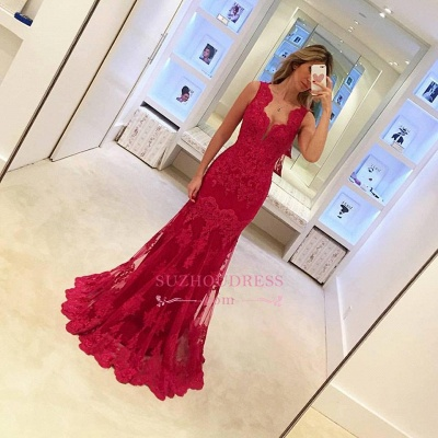 Popular Long Sleeveless Mermaid Prom Gowns  Elegant Sexy Red Lace Evening Dresses BA3745_1