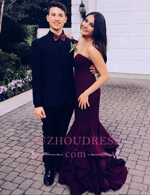 Ruffles Strapless Prom Dresses Mermaid Sweetheart Sexy Long evening Gowns_2