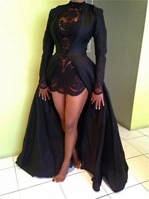 Sexy High Collar Black Lace Evening Dress New Arrival Long Sleeve Detachable Plus Size Dresses CJ0461_3