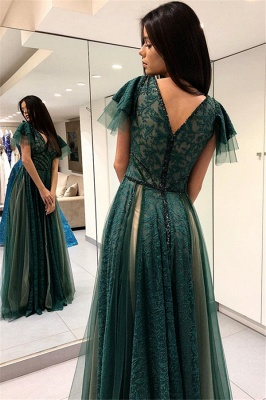 Green A-line Short Sleeves Prom Dresses | V-Neck Lace Prom Dresses_3