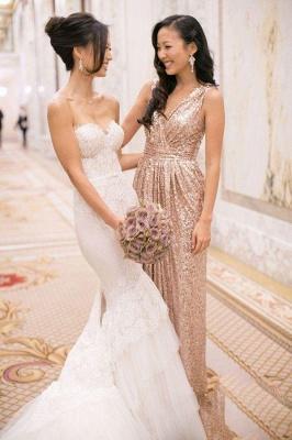 V-Neck Sliver Sequined Long Bridesmaid Dress Popular  Plus Size Wedding Dresses for Women_2