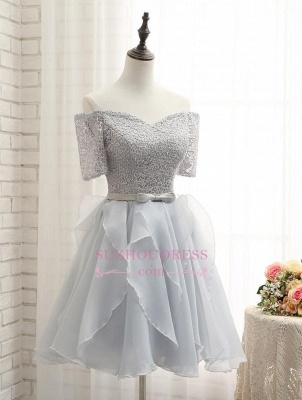Short A-Line Lace Off-the-Shoulder Bowknot Homecoming Dress_2
