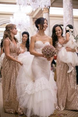 V-Neck Sliver Sequined Long Bridesmaid Dress Popular  Plus Size Wedding Dresses for Women_3