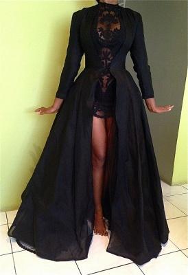 Sexy High Collar Black Lace Evening Dress New Arrival Long Sleeve Detachable Plus Size Dresses CJ0461_2