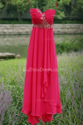 Side Draped Prom Gowns  Spaghetti Straps Sequined Beading Crystal Hi Lo Zipper Peachblow Chiffon Evening Dresses_2