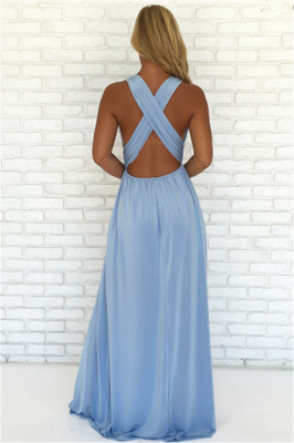 Crisscross Side Slit Blue Evening Dresses  | V-neck Sexy Formal Party Dress Online_3