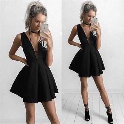 Deep V-neck Little Black Dress   Sleeveless Short Homecoming Dresses BA4219_3