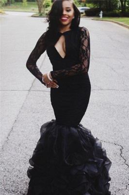 Mermaid Ruffles Long Sleeve Lace Prom Dresses  Sexy Keyhole Black Evening Gown BA4937_1