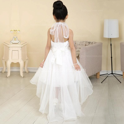 White Flower Girl Dresses Halter Bow Hi Lo Ruched Lovely A Line Organza Pageant Dress_3