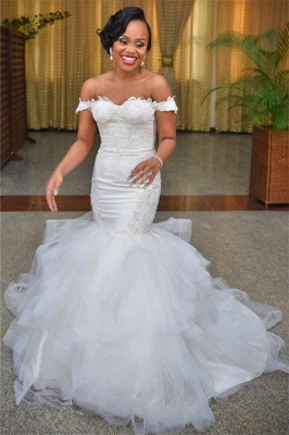 Sexy Mermaid Off the Shoulder Wedding Dresses  Lace Up Back Organza Wedding Gowns WE0033_1