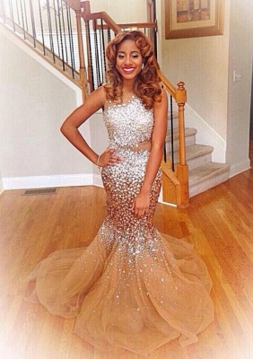 Silver Crystals Champagne Tulle Mermaid Prom Dresses Sexy  Evening Gowns BA4786_1