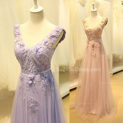 Elegant V-Neck Cute Lavender Prom Dresses with Flowers Tulle Pink Evening Dresses with Pearl Beadings_2