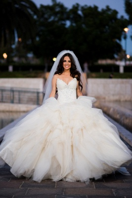 Crystal Sweetheart Lace  Wedding Dress Tiered Strapless Tulle Bridal Gowns_1