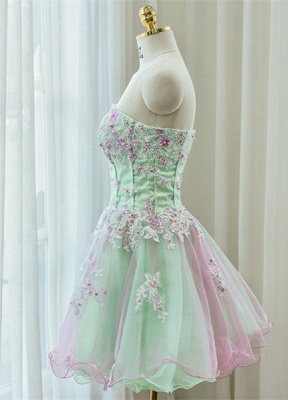 Cute Strapless Flower Mini Homecoming Dress New Arrival Lace Organza Short Cocktail Dress_2