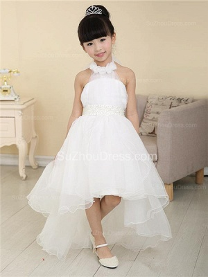White Flower Girl Dresses Halter Bow Hi Lo Ruched Lovely A Line Organza Pageant Dress_1