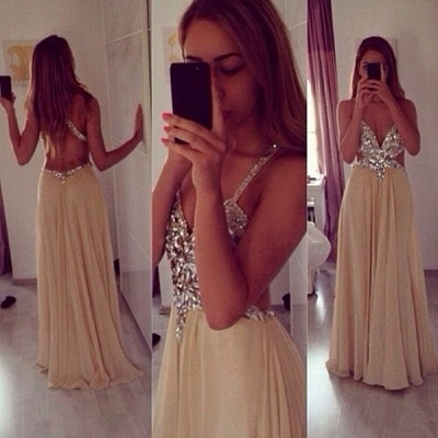 Sexy Beading Spaghetti Strap Prom Dress  Crossed Back Floor Length Dresses CE0144_3