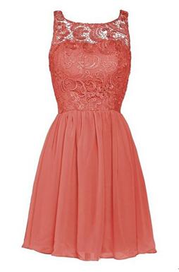 New A-line Chiffon Lace Zipper Short Homecoming Dress_10