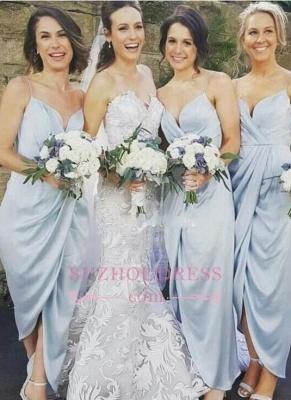 Spaghettis-Straps Slit Sky-Blue Ruffles Sheath Bridesmaid Dresses BA6197_1