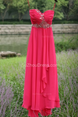 Side Draped Prom Gowns  Spaghetti Straps Sequined Beading Crystal Hi Lo Zipper Peachblow Chiffon Evening Dresses_3