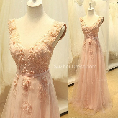 Elegant V-Neck Cute Lavender Prom Dresses with Flowers Tulle Pink Evening Dresses with Pearl Beadings_5