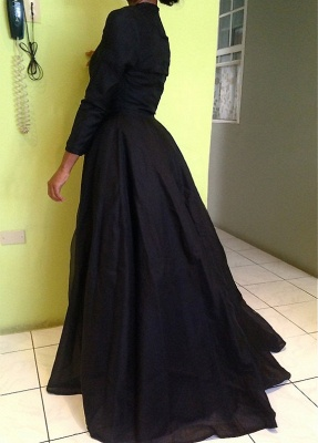 Sexy High Collar Black Lace Evening Dress New Arrival Long Sleeve Detachable Plus Size Dresses CJ0461_4
