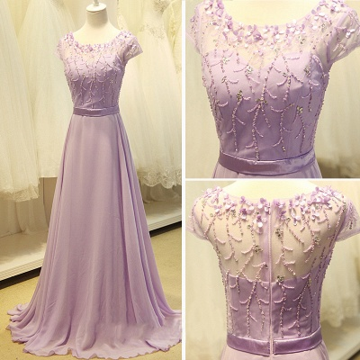 Cute Lavender Chiffon Long Prom Dresses with Beading Sequin  Lovely Popular Evening Dresses_2