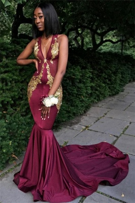 Sexy Burgundy V-Neck Sleeveless Prom Dresses  Mermaid Appliques Evening Dresses SK0093_3