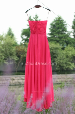 Side Draped Prom Gowns  Spaghetti Straps Sequined Beading Crystal Hi Lo Zipper Peachblow Chiffon Evening Dresses_5