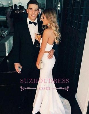 White Modern Sleeveless Two Piece Formal Evening Dress Sweep Train Mermaid Prom Dress  SP0271_1