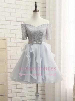 Short A-Line Lace Off-the-Shoulder Bowknot Homecoming Dress_4