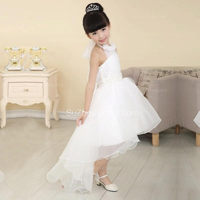 White Flower Girl Dresses Halter Bow Hi Lo Ruched Lovely A Line Organza Pageant Dress_2