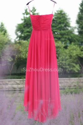 Side Draped Prom Gowns  Spaghetti Straps Sequined Beading Crystal Hi Lo Zipper Peachblow Chiffon Evening Dresses_4