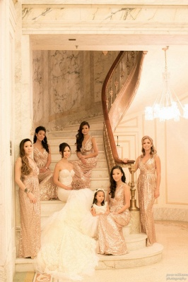 V-Neck Sliver Sequined Long Bridesmaid Dress Popular  Plus Size Wedding Dresses for Women_4