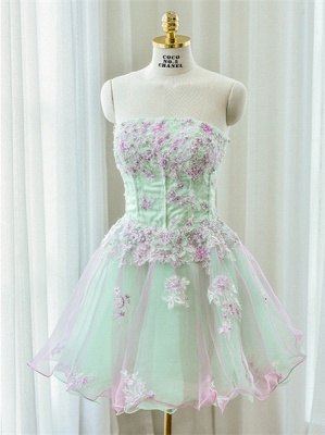 Cute Strapless Flower Mini Homecoming Dress New Arrival Lace Organza Short Cocktail Dress_1