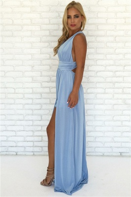Crisscross Side Slit Blue Evening Dresses  | V-neck Sexy Formal Party Dress Online_4