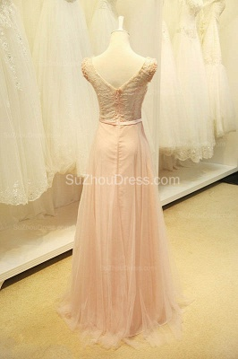 Elegant V-Neck Cute Lavender Prom Dresses with Flowers Tulle Pink Evening Dresses with Pearl Beadings_6