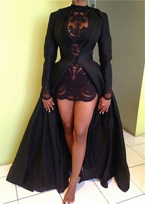 Sexy High Collar Black Lace Evening Dress New Arrival Long Sleeve Detachable Plus Size Dresses CJ0461_1