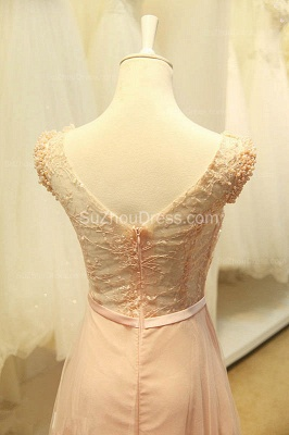 Elegant V-Neck Cute Lavender Prom Dresses with Flowers Tulle Pink Evening Dresses with Pearl Beadings_7