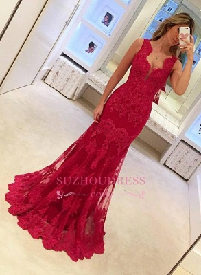 Popular Long Sleeveless Mermaid Prom Gowns  Elegant Sexy Red Lace Evening Dresses BA3745_3