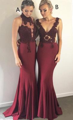 Burgundy Lace Bridesmaid Dresses   | Sleeveless Sheath Sexy Maid of Honor Dresses_1