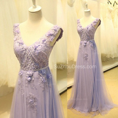 Elegant V-Neck Cute Lavender Prom Dresses with Flowers Tulle Pink Evening Dresses with Pearl Beadings_4