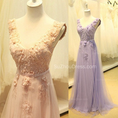 Elegant V-Neck Cute Lavender Prom Dresses with Flowers Tulle Pink Evening Dresses with Pearl Beadings_3