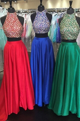 Sexy Two Piece Evening Gowns Halter Backless Prom Dress  with Beads_1