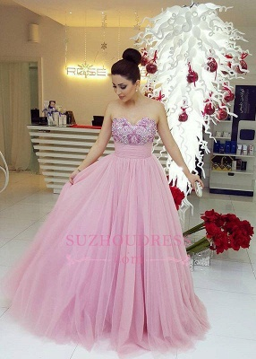 Fairy Beadings Tulle Gorgeous Long Sweetheart Prom Dress_2