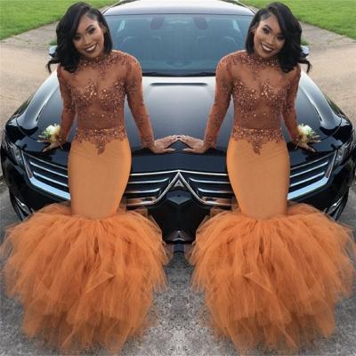 Dust Orange Long Sleeve Mermaid Prom Dress |  Beads Appliques Evening Gown FB0305_4