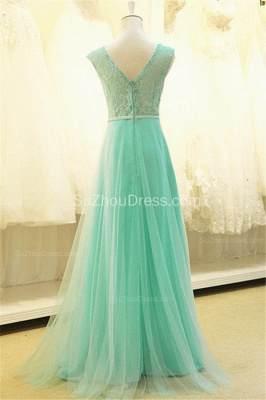A Line Elegant Tulle Lace Long Prom Dresses with Flowers Formal Affordable Zipper Bowknot Dresses for Juniors_4