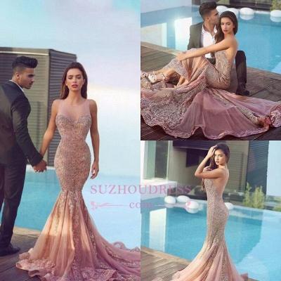 Mermaid Sequins  Formal Dress Pink Sparkling Sheer Sleeveless Jewel Gorgeous Evening Dress MH086_1